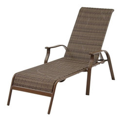 Hospitality Rattan - Panama Jack Island Cove Woven Stackable Sling Chaise Lounge Multicolor - PJO-800 - Shop for Chaise Lounges from Hayneedle.com! We're not sure if a chaise lounge deserves it's own zip code so just make sure that your postman knows where to find you when you're spending all your time enjoying the Panama Jack Island Cove Woven Stackable Sling Chaise Lounge. This comfy outdoor classic features a supportive and comfy sling seat over a lightweight rugged frame of extruded tubular aluminum. Subtle curved lines and a multiple reclining positions add the little touches that make this a must-have piece for those kinder seasons. The synthetic Viro fiber is designed to resist rot cracking and fading while the corrosion-resistant aluminum frame won't rust or stain when used outdoors. This chaise lounge is also stackable for easy storage.About Hospitality RattanHospitality Rattan has been a leading manufacturer and distributor of contract quality rattan wicker and bamboo furnishings since 2000. The company's product lines have become dominant in the Casual Rattan Wicker and Outdoor Markets because of their quality construction variety and attractive design. Designed for buyers who appreciate upscale furniture with a tropical feel Hospitality Rattan offers a range of indoor and outdoor collections featuring all-aluminum frames woven with Viro or Rehau synthetic wicker fiber that will not fade or crack when subjected to the elements. Hospitality Rattan furniture is manufactured to hospitality specifications and quality standards which exceed the standards for residential use.Hospitality Rattan's Environmental Commitment Hospitality Rattan is continually looking for ways to limit their impact on the environment and is always trying to use the most environmentally friendly manufacturing techniques and materials possible. The company manufactures the highest quality furniture following sound and responsible environmental policies with minimal impact on natural res