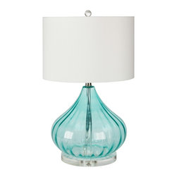 Surya - Atlantis Aqua Glass Lamp - New! Standing at 25 inches tall, this elegant Atlantis Aqua lamp with its' gourd-like shape and clear acrylic accented base and finial, would be a wonderful subtle coastal accent in your beach home.