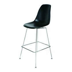 Nuevo Living - Archer Barstool in Black by Nuevo - HGQM118 - The Archer Barstool in Black by Nuevo features an ABS plastic seat and chromed steel frame.  The Archer is similar to the popular Eiffel chairs on the market but now in a bar height chair.