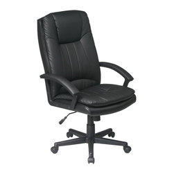 Office Star - High Back Executive Eco Leather Chair - A double thickness of padding and gently curving arms make this affordable high-back executive chair a most popular choice.  Durable black eco-leather upholstery features stylish channel-stitched quilting and extra cushioned headrest.  Height easily adjusts with pneumatic lift. 26.5 in. W x 27 in. L x 45.5 in. H
