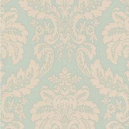 Wallpaper Worldwide - Louvre - Acanthus Leaf Wallpaper, Green, Pastels, Beige - Material: Non-woven. PVC.