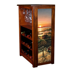 Kelseys Collection - Wine Cabinet 15 bottle Best Friends - Wine Cabinet stores fifteen wine bottles and glassware with licensed artwork by Terry Redlin giclee-printed on canvas side panels  The frame, top, and racks are solid New Zealand radiata pine with a hand stained and hand rubbed medium reddish brown finish, which is then protected with a lacquer coat and top coat. The art is giclee printed on canvas with three coats of UV inhibitor to protect against sunlight, extending the life of the art. The canvas is then glued onto panels and inserted into the frames.