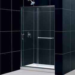 """BathAuthority LLC dba Dreamline - Infinity-Z Frameless Sliding Shower Door, 44 - 48"""" W x 72"""" H, Clear Glass, Chrom - The Infinity-Z sliding shower door delivers a classic design with a fresh attitude. Features of convenience like a handy towel bar and fast release wheels that make cleaning the glass and track a cinch are combined with the modern appeal of a frameless glass design. Choose the simply sophisticated style of the Infinity-Z sliding shower door."""