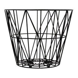 Harlequin Wire Basket - Fine geometries make this basket a sophisticated, but fun, choice for storage and decor in your home. A smooth black finish makes it a sturdy, versatile accent piece.