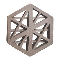 Convivial Production - Designer Hot Plate/Trivet, Hexagon - These trivets are nothing like anything you have seen before. Each piece is hand-made and carved, inspired by the line details of architectural structures. They are made from a dark stoneware clay body and fired raw. To use these all you need do it simply set them down on your dinning room table when it is time to eat and place your hot pot on top. They are the perfect little touches to use when styling your table.