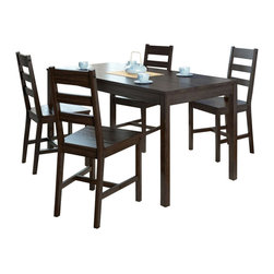 Sonax - Sonax CorLiving 5 Piece Dining Set in Cappuccino - Sonax - Dining Sets - DTC894T - Add comfort to your kitchen with this practical shaker styled table and 4 chair set from CorLiving. The solid wood construction of the bed is packaged in one convenient box and assembles in minutes. Featured in Cappuccino stain this table and chair set accents any decor setting while offering great value.