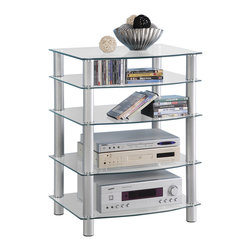 Walker Edison - Silver Multilevel Component Stand - This  versatile component, media stand allows you to customize the unit to meet your needs. Any lower shelf may be interchanged or left out all together, offering heights ranging from 3-33 in. Crafted from durable steel tubing and thick, tempered safety glass, this stand provides ample storage space for your components and accessories.