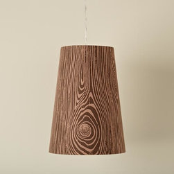 Wood Grain Pendant Lamp - Woodn't you love to hang this faux bois pendant in your woodland nursery?