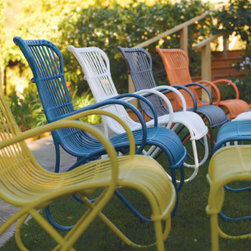 Rizza Outdoor Chair - OK, I admit it: I am crushing on this Rizza chair. It comes in several colors, and the all-weather aluminum construction coated in colorful resin is clearly built to last.