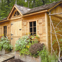 Copper Creek Garden Shed by Summerwood - This Copper Creek featuring a spacious dormer doubles as a workplace!
