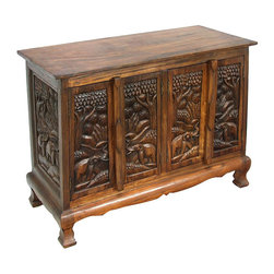 None - Royal Elephants Storage Cabinet / Sideboard Buffet - Add a tropical touch to your home decor with this hand-carved storage cabinet. Its elegantly rendered elephant carvings are certain to delight.