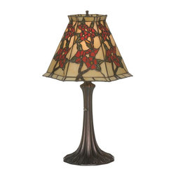 Meyda Tiffany - Oriental Peony 19 in. Accent Lamp - Requires one 60 watt medium type bulb. Victorian tiffany floral Asian style. Unique and handcrafted. Beige color. Shade: 12 in. Dia. x 8 in. H. Overall: 12 in. Dia. x 19 in. H. Care InstructionsNatural variations, in the wide array of materials that use to create each product, make every item a masterpiece of its own.
