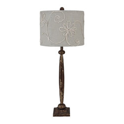 Lowden Lamp - An elegant twist to a rustic work of art, our Lowden Lamps are a light caress of liquid sunshine.  Handcrafted with a slim metal base and are finished in an antique silver with a hint of rusted metal.  Each lamp is adorned with a wheat linen cylinder shade covered in floral silhouette scroll detail.  All of our lighting is hand-picked by our Cokas Diko designers with quality and style in mind.