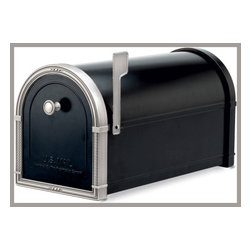 Coronado 5504B Black Post Mount Residential Mailbox with Antique Nickel Accents - This mailbox is by Architectural Mailboxes.  It comes in other color versions also, and retails for $196.00 with free shipping at http://www.mailboxixchange.com