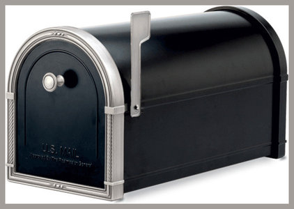 Traditional Mailboxes Coronado 5504B Black Post Mount Residential Mailbox with Antique Nickel Accents