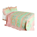 Blancho Bedding - Love Spells 3PC Cotton Contained Patchwork Quilt Set  Full/Queen Size - Set includes a quilt and two quilted shams (one in twin set). Shell and fill are 100% cotton. For convenience, all bedding components are machine washable on cold in the gentle cycle and can be dried on low heat and will last you years. Intricate vermicelli quilting provides a rich surface texture. This vermicelli-quilted quilt set will refresh your bedroom decor instantly, create a cozy and inviting atmosphere and is sure to transform the look of your bedroom or guest room. Dimensions: Full/Queen quilt: 90 inches x 98 inches  Standard sham: 20 inches x 26 inches.
