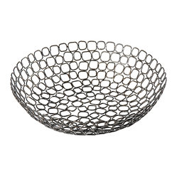 "Rhadi Living - Square Ring Bowl 11.5"" - Handmade in a rural Indian village from iron, wire and repurposed washers, this unique bowl makes a statement on your tabletop. Use it to hold bread or fruit, or keep it as a focal point in your room. Each piece is unique."