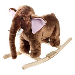 "Happy Trails - Happy Trails Plush Rocking Mo Mammoth w Sound - Age: 3-4 years. Mammoth / Elephant Sounds. Requires 2 AA Batteries (Not Included). Dimensions: 28.5 in. L x 17.5 in. W x 21in. HThis soft, plush Rocking Mo Mammoth from Happy TrailsT is sure to be your child's favorite toy. It is hand crafted with a wood core and stands on sturdy wooden rockers. It even makes mammoth / elephant sounds! All with only a touch of its ear! Your little one will enjoy hours ""exploring the wilderness"" with this wonderful Plush Rocking Mo Mammoth from Happy Trails."