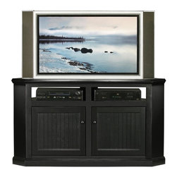 Eagle Industries - Coastal 56.75 in. Corner TV Stand (Black) - Finish: Black. Decorative molding. Choice of glass or bead board panel doors. Made from poplar, birch solids and veneers. Warranty: Eagle's products are guaranteed against material defects for one year from date of delivery to the dealer. Made in USA. No assembly required. 56.75 in. W x 30.75 in. D x 32 in. H (78 lbs.)The Coastal collection fits today's casual lifestyle. Recessed doors, bead board panels and solid wood moldings provide a clean, contemporary style that is complemented by a choice of painted or rich stained finishes