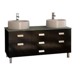 "Design Element - Design Element DEC350 Wellington 55"" Double Sink Vanity Set in Espresso - Design Element DEC350 Wellington 55"" Double Sink Vanity Set in Espresso"