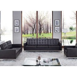 """LexMod - Florence Style Loft 3 Piece Sofa Set in Chocolate - Loft 3 Piece Sofa Set in Chocolate - A style so classic you will recognize it instantly, this beautiful set will fill your living room with joy. Each piece is crafted for optimum comfort and fashion. Furnish your space with the best of modern classics. Set Includes: One - Loft Leather Armchair One - Loft Leather Loveseat One - Loft Leather Sofa Chair, Loveseat, and Sofa: Genuine Leather Seating Surfaces, Tufted Seat and Back, Metal Frame and Legs Overall Chair Dimensions: 30""""L x 31""""W x 31.5""""H Chair Arm Height: 23""""H Chair Seat Dimensions: 20""""L x 23""""W x 17""""H Chair Seat Back Height: 17""""H Overall Loveseat Dimensions: 63""""L x 31""""W x 31""""H Loveseat Arm Height: 23""""H Loveseat Seat Dimensions: 21""""L x 16""""H Overall Sofa Dimensions: 91""""L x 31""""W x 31""""H Sofa Arm Height: 23""""H Sofa Seat Dimensions: 21""""L x 16""""H Overall Table Dimensions: 24""""L x 21.5""""W x 21.5""""H Overall Product Dimensions: 122""""L x 62""""W x 31.5""""H - Mid Century Modern Furniture."""