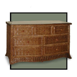 Roma 7-Drawer Wicker Dresser