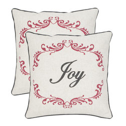 Safavieh - Decorative Joy Pillows in Beige & Red - Set Of 2 - Bring holiday cheer to your home with pillows inscribed with the word, Joy. Sold in a set of two, these beige and red Victorian-inspired pillows in a blend of polyester and linen will be part of your family decorating tradition for years to come.