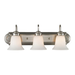 Golden Lighting - Golden Lighting 5221-3-PW-OP Brookfield 3 Light Bathroom Vanity Light, Pewter - Extra long stylish backplate adds to the room finished feeling. Pewter finish works well with light or neutral decor. Opal glass for a fresh look. Affordably priced. Available in a variety of glass and finish options. UL listed Damp location for use in bathroom or under an eave. Provides a well diffused light over a vanity or mirror for grooming.
