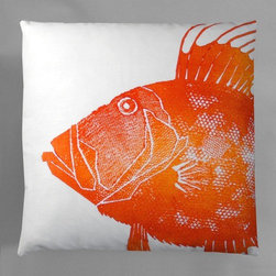"Dermond Peterson - Dory Pillow - Bright, playful, and fun! Dermond Peterson pillows are a chic and sophisticated way to add a piece of art to your living room or bedroom. Features: -Each pillow is made to order. -Hand-block printed on linen using water-based ink. -Feather and down insert. -Pillowcase is machine washable. -Machine wash cold on gentle cycle. -Overall dimensions: 20"" H x 20"" W x 4-6"" D."