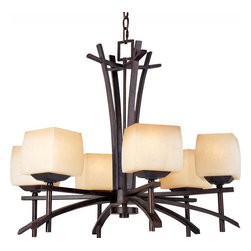 Maxim - Maxim Asiana Six Light Wilshire Glass Roasted Chestnut Up Chandelier - This Six Light Up Chandelier is part of the Asiana Collection and has Wilshire Glass and a Roasted Chestnut Finish. It is Dry Rated.