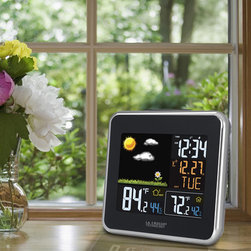 Lacrosse Technology - Black Wireless Atomic Color Weather Station with USB Charging Clock - - Wireless color weather station featuring animated forecasts, IN/OUT temperature and humidity, head index and dew point, atomic time and date and USB port Lacrosse Technology - 308-146