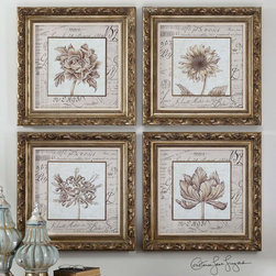 """Uttermost - French Florals Framed Art - Set of 4 - Frame Features An Antiqued Gold Leaf Finish With Bronze Undertones And A Gray Wash. Prints Are Under Glass. Uttermost's Art Combines Premium Quality Materials With Unique High-style Design. Overall Dimensions: 1.75""""D x 24.875""""W x 24.875""""H; Mirror/Glass Width: 18""""; Mirror/Glass Height: 18"""""""