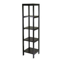 Winsome - Modular 5-Tier Hailey Tower Shelf - Hailey line of modular entertainment and storage/display furniture this 5 tier wood shelf in Espresso finish is designed to stand alone or be paired with other pieces to create and entertainment set.