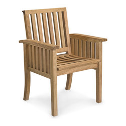 Thos. Baker - Teak Armchair with Khaki Cushions | Craftsman Dining Collection - The craftsman collection of teak dining and deep seating outdoor furniture features beefy cuts of our premium teak in an iconic mission-inspired design. Mortise-and-tenon construction.t home indoors or out, craftsman pieces exhibit a classic design voice and supreme comfort. Cushions available in a variety of quick-ship and made-to-order fabrics.Signature or premium cushion sales are final and ship in 2-3 weeks.