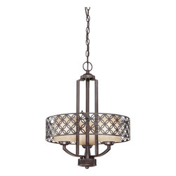 Nuvo Lighting - Nuvo Lighting 60-4567 Margaux 3-Light Chandelier with Chestnut Glass - Nuvo Lighting 60-4567 Margaux 3-Light Chandelier with Chestnut Glass
