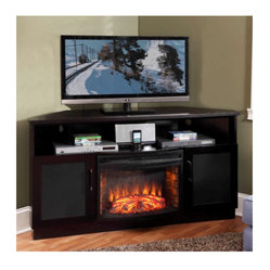 Electric Fire Place.-Sculptured Stainless Steel and Black Bar Handles ...