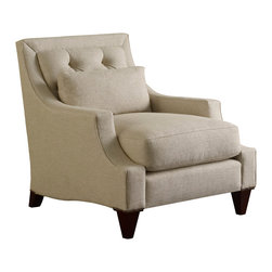 Max Club Chair - Tufted - Baker Furniture - With the Max series, Thomas Pheasant develops the idea of a largely weltless modern silhouette with a prominently framed back. The look of the cushions, depth, and pitch all convey comfort, and there is a slightly relaxed softness about it. Visually, the kidney pillows add a horizontal break. Converging slope arms meet the base through a deeply cut scallop detail revealing, but still neatly holding, the cushion. Tapered legs, with petite nail head trim at the top, add refinement.
