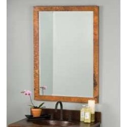 KCK Bathroom Mirrors & Accessories - Medium Milano Mirror In Tempered - A beautiful, artisan crafted, hand hammered copper mirror frame. The mirror within the copper frame is beveled glass to give the entire piece an elegant and Classic look.
