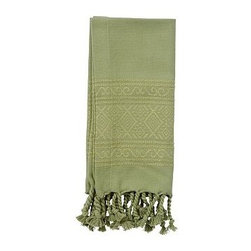 """Diamond Jacquard Twisted Fringe Dinner Napkin, 20"""", Set of 4, Cactus - The diamond Jacquard pattern that frames our cotton napkins adds a soft shimmer to each place setting. 20"""" square Made of pure cotton. Yarn dyed for vibrant, lasting color. Set of 4. Machine wash. Imported."""