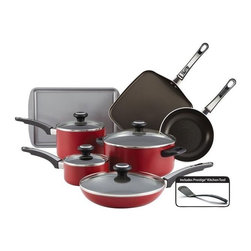 Farberware Cookware - Farberware Nonstick 12 Pc. Set Red - Farberware High Performance Nonstick 12 Pc Cookware Set - Red - Includes saucepans for the soup fan, a Dutch oven, skillets, a square griddle and a cookie pan for the baker of the house. The glass lids allow the cooking process to be monitored without losing heat or moisture, and the strong handles provide a comfortable grip - this cookware is oven safe to 350 F and dishwasher safe for swift and simple cleanup.