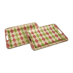Home Decorators Collection - Lucille Metal Trays - Set of 2 - The preppy argyle print of these Lucille Metal Trays adds a fresh twist to the Southern-traditional style of this set. Perfect for your next gathering or event. Made of iron and paper. Available in pink/green/white.
