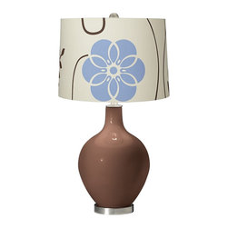 "Color Plus - Contemporary Rugged Brown Blue Floral Ovo Table Lamp - Add a blast of designer style with this Color + Plus™ glass table lamp. The design is hand-crafted by experienced artisans in our California workshops with a Rugged Brown designer finish. It is topped with a charming off-whitee cotton muslin fabric shade with a blue and brown floral pattern. Brushed steel finish accents balance the look. Rugged Brown designer glass table lamp. Blue floral cotton muslin fabric shade. Brushed steel finish accents. Maximum 150 watt or equivalent bulb (not included). 28 1/2"" high. Shade is 15"" across the top 16"" across the bottom 11"" high. Base is 6"" wide.  Rugged Brown designer glass table lamp.  Blue floral cotton muslin fabric shade.  Brushed steel finish accents.  Maximum 150 watt or equivalent bulb (not included).  28 1/2"" high.  Shade is 15"" across the top 16"" across the bottom 11"" high.  Base is 6"" wide."