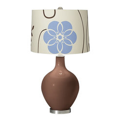 Contemporary Rugged Brown Blue Floral Ovo Table Lamp