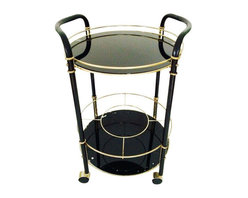 SOLD OUT! Vintage Gold and Black Bar Cart - $460 Est. Retail - $380 on Chairish. -