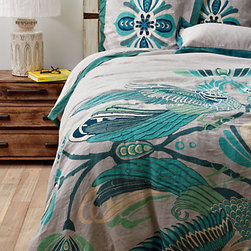 Cockatoo Duvet Cover - This beautiful cockatoo bedding is perfect for a summery retreat. I love the blue colors and the beautiful embroidery.