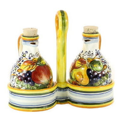 Artistica - Hand Made in Italy - FRUTTA: Oil and Vinegar Set - FRUTTA Collection: Define a genuine Tuscan look with this exclusive Artistica pattern.