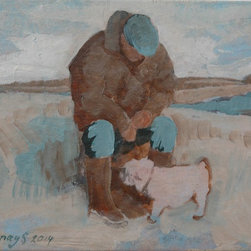 """""""The County Side"""" Artwork - This is acrylic on canvas with mixed media. A portrait of the country side. As I think of it from the other side of the world. It is underneath a photo of my dad, comforting his dog out on Dartmoor. I like the moment of realism in the photo of the dog coming though the painterly description of the figure. The lonely segregation of the figure, its introspection in the landscape and simple palette speaks about a simple life I fantasize I would lead out in the country."""