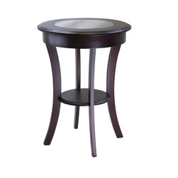 Winsomewood - Cassie Round Accent Table With Glass - It starts with the rich cappuccino finish, smooth beveled sides and classy glass top. Next it's the extra wide apron and flared legs, giving this round accent table its chic contemporary vibe. That's when you'll know that this side table just has to be your easy chair's faithful new sidekick.