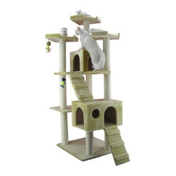 "Armarkat - 74"" Classic Cat Tree in Beige - Features: -Two ramps.-Covered with beige faux fur.-Easy to assemble with step by step instruction and tools.-Constructed of plywood.-Distressed: No.Dimensions: -Overall Dimensions: 74'' H x 26'' W x 50'' L.-Base Dimensions: 28'' W x 24'' D.-House Dimensions: 12'' H x 14'' W x 14'' L and 12'' H x 14'' W x 20'' L.-Perch Dimensions: 14'' W x 14'' D.-Posts: 3.5'' Dia.-Overall Height - Top to Bottom: 74.-Overall Width - Side to Side: 74.-Overall Depth - Front to Back: 50.-Overall Product Weight: 65 lbs."