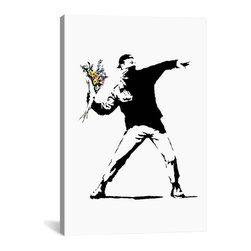 "Banksy - Banksy Canvas Print // Rage, Flower Thrower // 40"" H x 26"" W - Museum-quality canvas print by Banksy gallery wrapped and ready for wall hanging with no additional framing required. The canvas print is remarkably bright in color and unrivaled in detail with quality ink that has been light-tested to last over 100 years!"